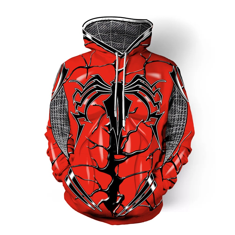 Newest Movie Spiderman Hoodies 3D Print Hoodie/Sweatshirt Unisex Good Quality Superhero Black Hoodie Tops XS-7XL