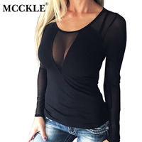 MCCKLE 2017 Women Sexy Splice Knit Long SleeveTops Blouse The Neck Casual Blouses Solid Slim View