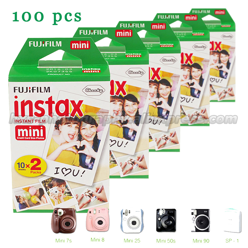 100 unids genuino Fuji Películas instax mini 9 instantánea Películas para 9 7 S 8 10 20 25 50 s 50i cámara y smartphone compartir impresora sp-1 sp-2