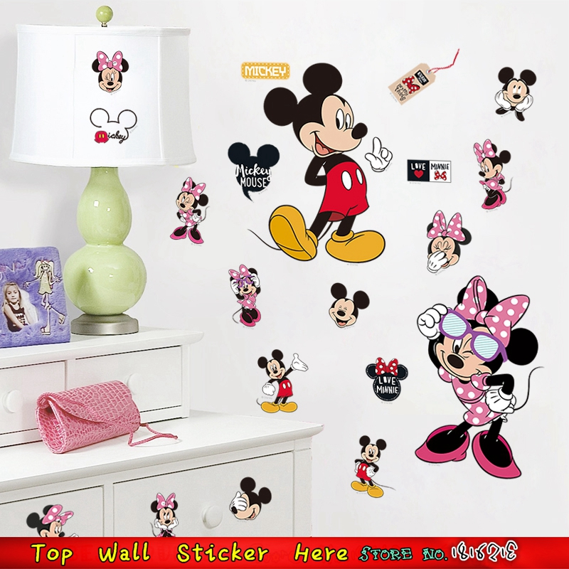 Mickey Minnie Mouse Wall Stickers For Cabinet Kids Room Decorations Home Decals  Wall Fridges Sticker Art Kitchen Refrigerator In Wall Stickers From Home ...