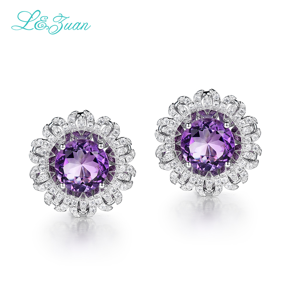 I Zuan 925 Sterling Silver White Gold Earring Round Natural Amethyst Purple Stone Elegant Clip Earrings