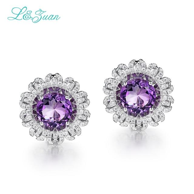 I&Zuan 925 Sterling Silver White Gold Earring Round Natural Amethyst Purple Stone Elegant Clip Earrings For Women Fine Jewelry