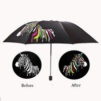 Meet Water Discoloration Zebra Owl Umbrella Personality Creative Vinyl Sun Folding Umbrella For Women