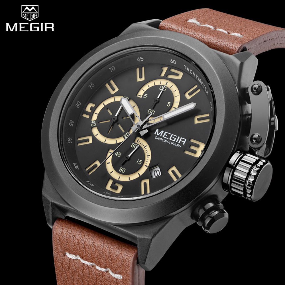online get cheap engraved watches aliexpress com alibaba group megir men s casual watch auto date men sport military watches chronograph luminous engraved dial relogio