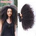 Солнечный королева продуктов волос 6а евразийский афро кудрявый вьющиеся девы человеческих волос соткет горячая распродажа 3 шт. евразийский девы волос афро-вьющиеся