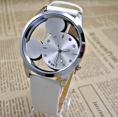 Fashion Cartoon Mickey Watches Transparent Hollow Quartz Watch Women Children Kids Leather Strap Wristwatch Girl Gift Relojes