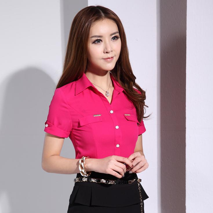 New 2015 Summer Fashion Black Shirt Women Blouses Short Sleeve OL ...