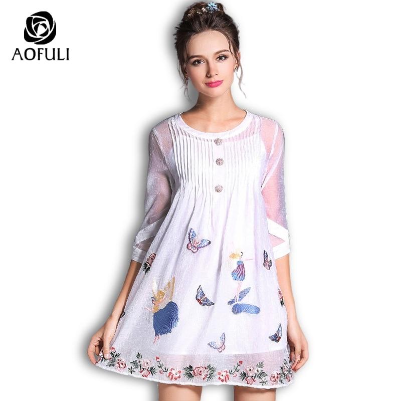 219a0e0f08 S - XXXL Forest Fairy Embroidery White Organza Dress Butterfly 2018 Plus  Size Women Button Short ...