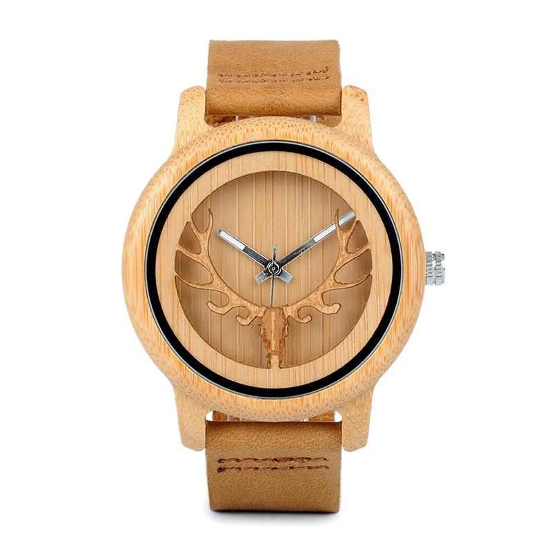 BOBO pájaro CA27 hueco de la cabeza de ciervo madera de bambú Casual  relojes para las 61e6b660af2e