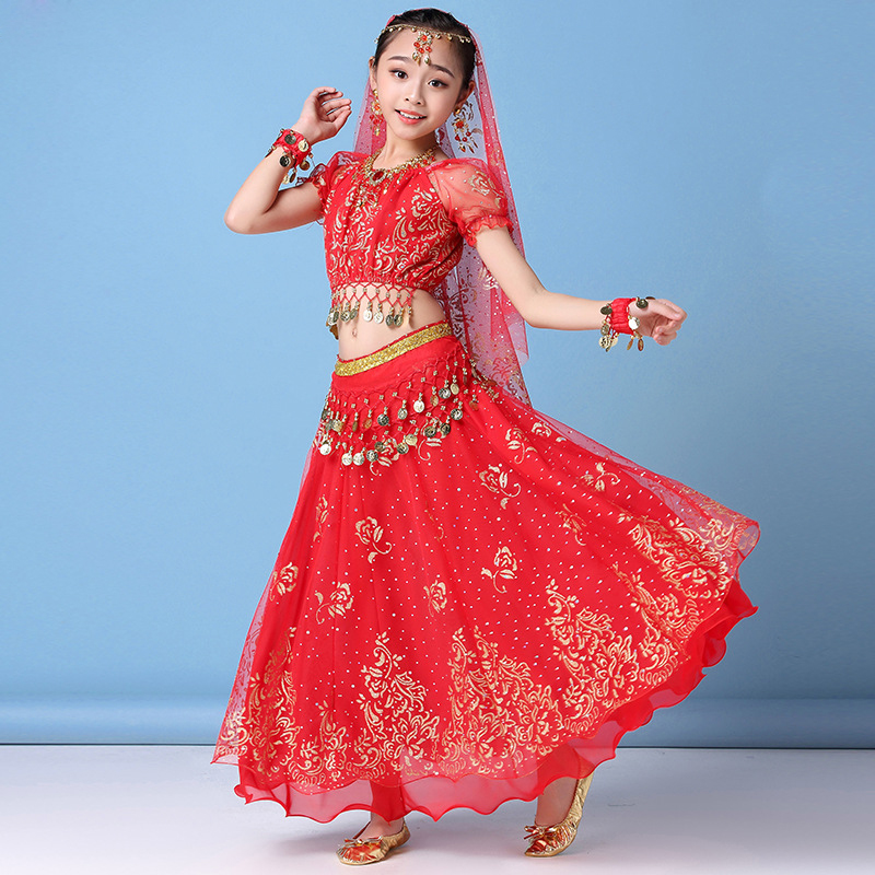 Children Belly Dance Costume Set Stage Performance Belly Dancing Clothes For Girls India Dance Bollywood Outfit Kids 3/8pcs