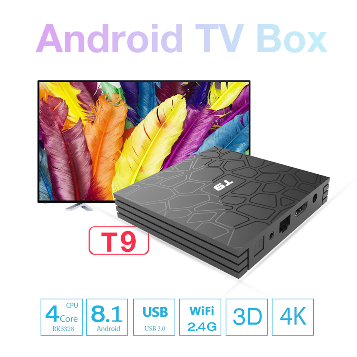 US $43 98 29% OFF|T95 T9 4K TV Box Android 8 1 RK3328 Quad Core 4GB RAM  32GB ROM Set Top Box with USB 3 0 Smart TV Box Netflix Media Player-in  Set-top