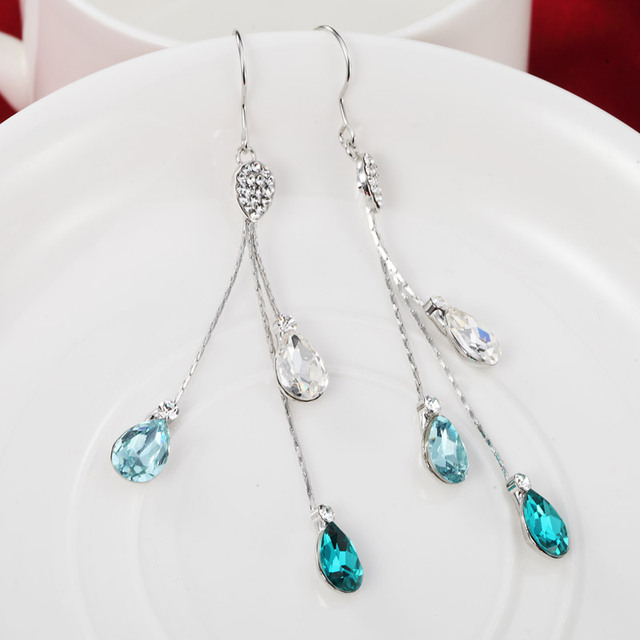 Neoglory Blue Austrian Crystal Rhinestone Long Tassel Boho Chandelier Dangle Drop Earrings for Women Bridal Jewelry 2017 JS9 B1