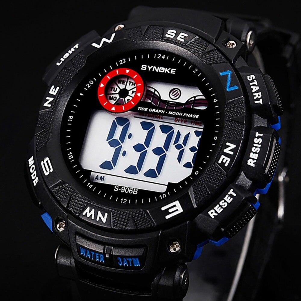 30 м Водонепроницаемый цифровой спортивные часы ударопрочные наручные часы Мода Многофункциональный электронный будильник секундомер для ...