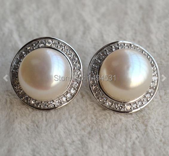 Cadeau de noël bijoux AAA 13 MM blanc perle d'eau douce boucles d'oreilles, 925 en argent Sterling boucle d'oreille bijoux de mariage.