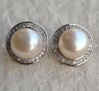 Christmas Gift Jewelry AAA 13MM White Freshwater Pearl Stud Earrings , 925 Sterling Silver Earring Wedding Jewelry.
