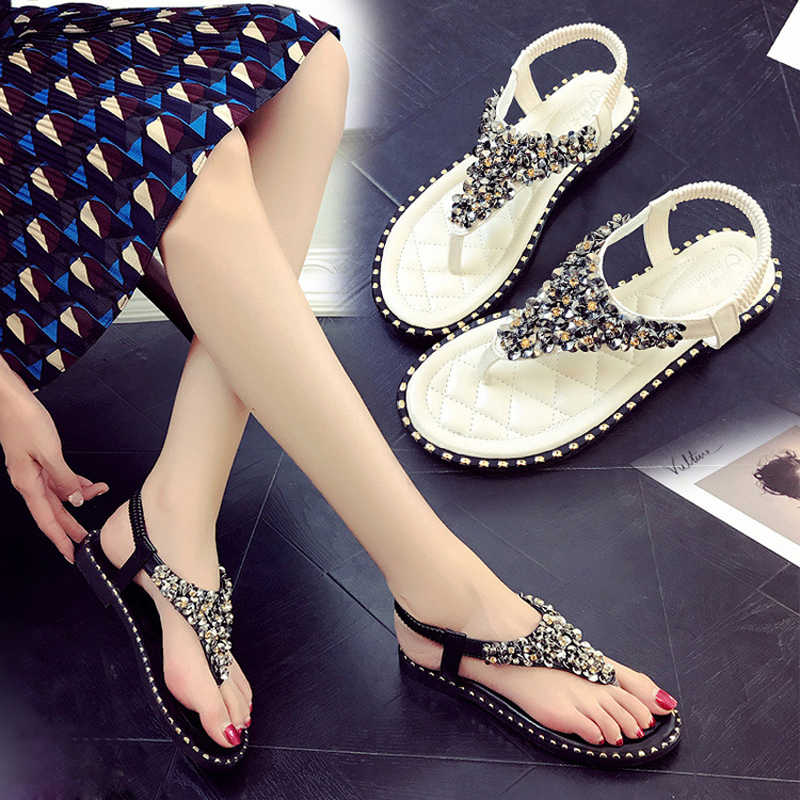 HEE GRAND Sandals Women Flat Bohemia Shoes Woman Flip Flops Summer Shoes Ladies Hot Fashion Rhinestone Chains Flats XWZ5757