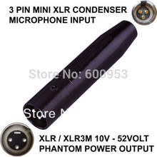 TA3F 3 PIN MINI XLR MASCHIO MICROFONO A CONDENSATORE A XLR/XLR MASCHIO PHANTOM POWER ADAPTOR ADATTATORE(China)