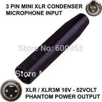 TA3F 3 PIN MINI XLR MALE CONDENSER MICROPHONE TO XLR / XLR 3 PIN MALE PHANTOM POWER ADAPTOR ADAPTER