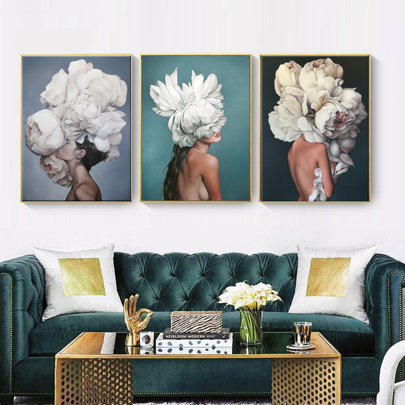 HAOCHU-Posters-and-Prints-Flowers-Feather-Sexy-Women-Character-Canvas-Painting-Wall-Pictures-For-Living-Room (1)