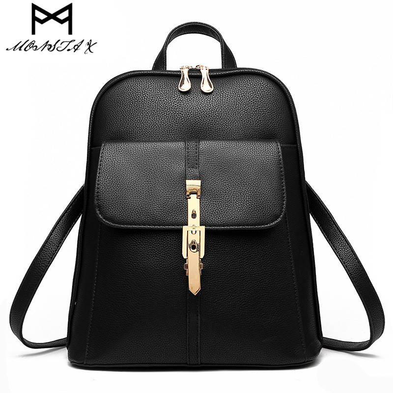 MONSTA X Women Backpack High Quality PU Leather Mochila Escolar School Bags For Teenagers Girls Leisure Backpacks Candy Color 2018 new backpack school bags for teenagers girls bag women backpack top handle backpacks pu leather mochila escolar travel bags