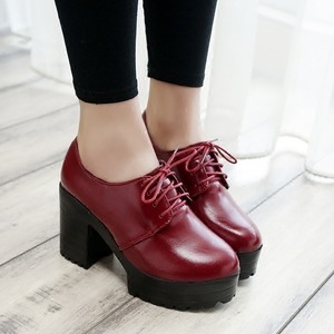 Image 5 - 2019 new thick with high heels thick sole shoes British womens shoes autumn laces students round head ladies casual women shoes
