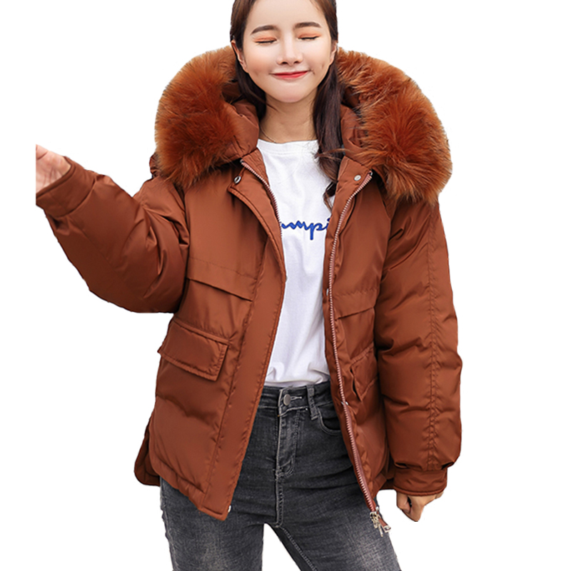 2018 fur collar women winter hooded coat Thick female big size outerwear   parka   girls warm short jacket slim jaqueta feminino
