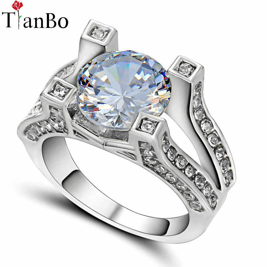 TianBo Fashion Blue / Clear Zircon Ring Size 9 for Women Men Engagement Ring White / Black Gold Colour CZ Birthstone Jewelry