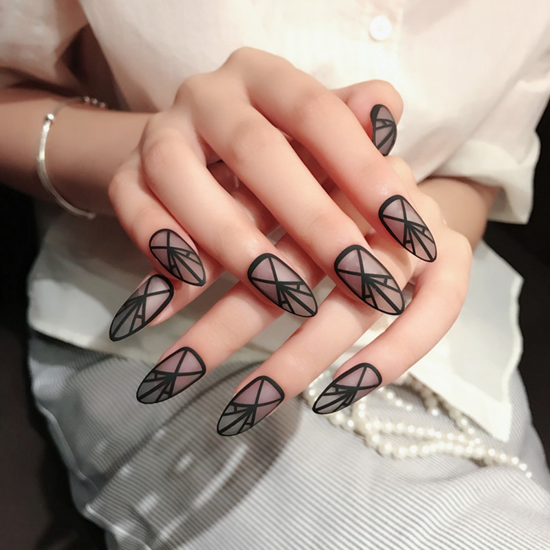 24pcs Frosted Clear Matte False Nail Art Tips Geometric Drawing Fake Nails Decoration Patch Manicure Accessory Z265 In Underwear From Mother Kids On