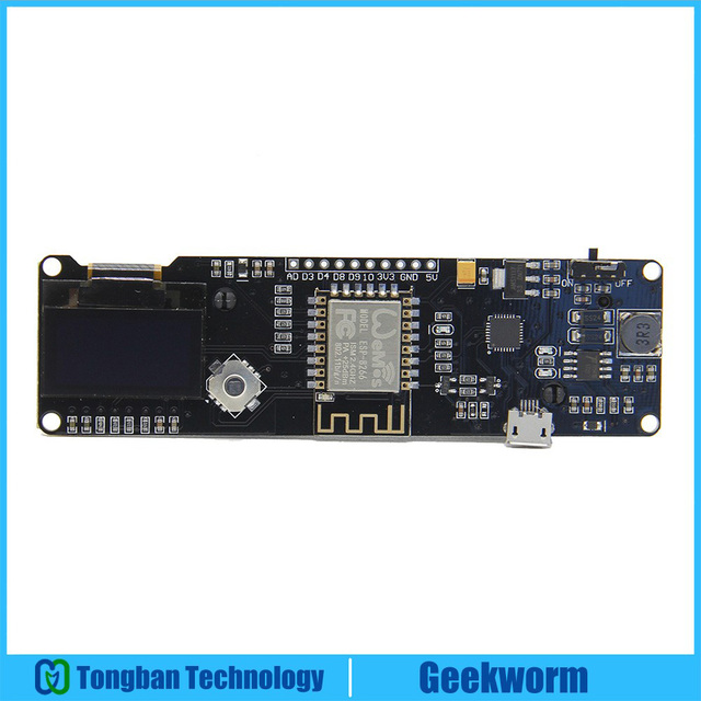 ESP8266 ESP-WROOM-02 0.96 inch OLED Development Board Mini-WiFi NodeMCU Module with ESP8266 Chip + 18650 Battery Holder