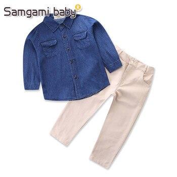 71f1496b91 Samgami bebé Moda hombre azul camisa vaquero Tops + color puro Pantalones 2  unids ocasionales niños deporte Trajes primavera nueva ropa de los niños
