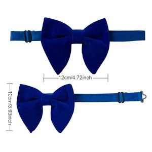 Image 5 - Ricnais Velvet Big Bow Tie Mens Bowties Pocket Square Cufflinks Set Solid Red Blue Handkerchief Necktie For Man Wedding Gift