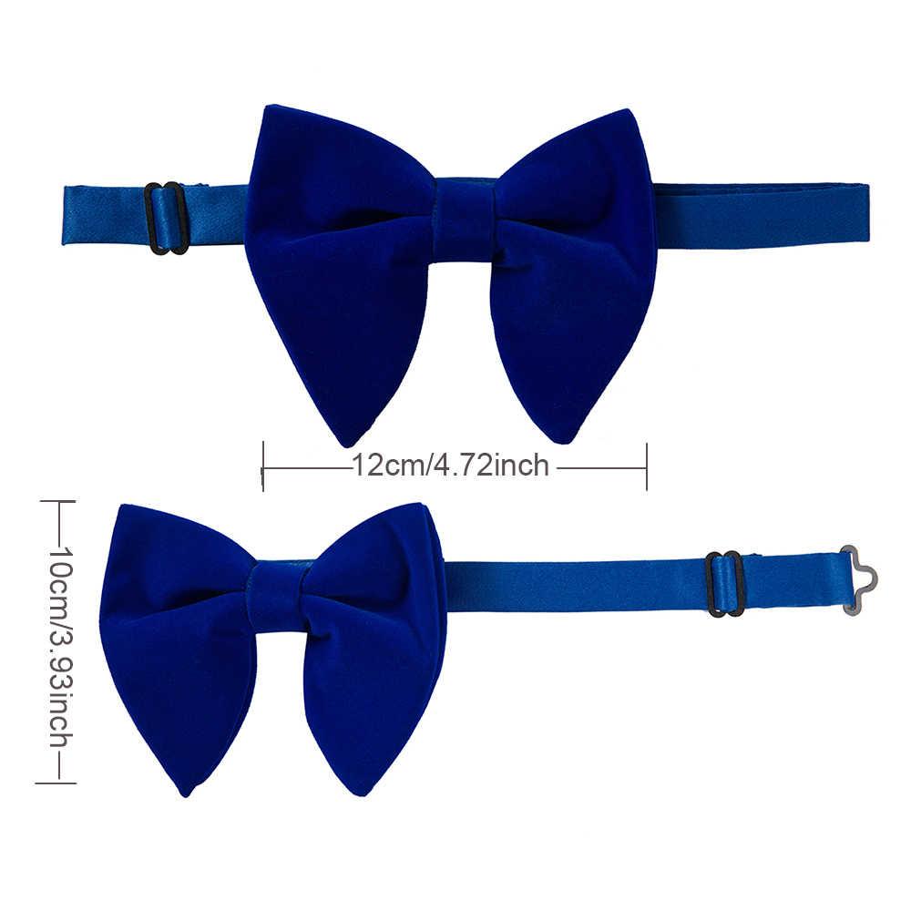 Ricnais бархатный большой галстук-бабочка, мужские галстуки-бабочки, карманные Квадратные запонки, набор, однотонный красный синий платок, галстук для мужчин, свадебный подарок
