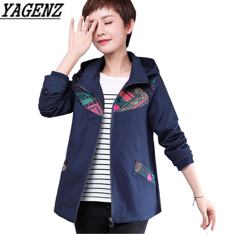Middle-aged Women's 2019 Spring Autumn Print Loose Windbreaker Cotton Hooded Short Coat Large-size Casual Female   Trench   Coat 5XL
