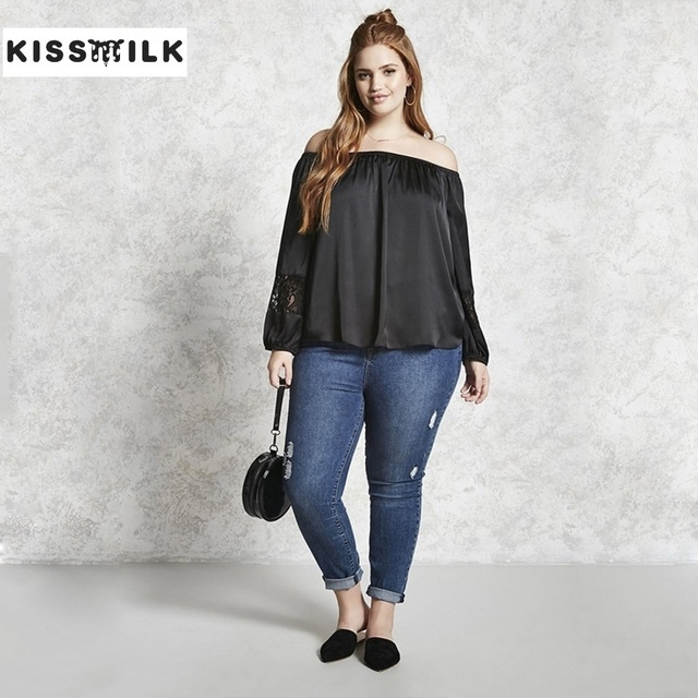 33d7a7f83c1 Kiss Milk Kissmilk Plus Size Black Off Shoulder Blouse Women Fashion Long  Sleeve Lace Top Elegant Slash Neck Shirts