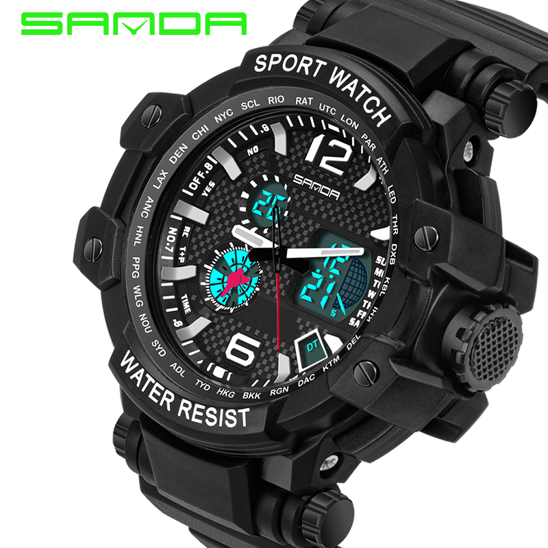 SANDA Digital Watch Men XFCS Military Men Wrist Watch Waterproof LED Analog Sport Watch Electronic Hodinky Relogio Masculino criancas relogio 2017 colorful boys girls students digital lcd wrist watch boys girls electronic digital wrist sport watch 2 2