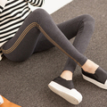 Maternity Spring Elastic Pants Maternity Clothes Leggings Vertical Striped Knitted Abdominal Dark Grey Leggings Good Quality