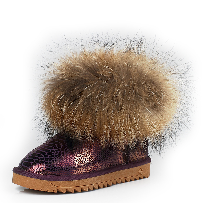 2019 Fashion 100% Raccoon Fur Boot Top Quality Cowhide Leather Handmade Women Winter Snow Boots New Arrival Fashion Warm Boots