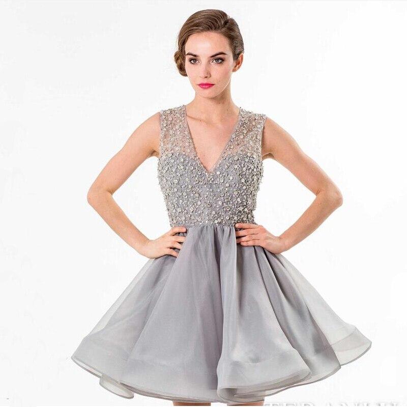 Vestidos color gris cortos