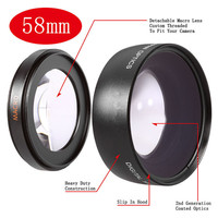 New 58MM 0 43X Wide Angle Macro Lens HD For 58mm Filter Thread Lens Canon 700D