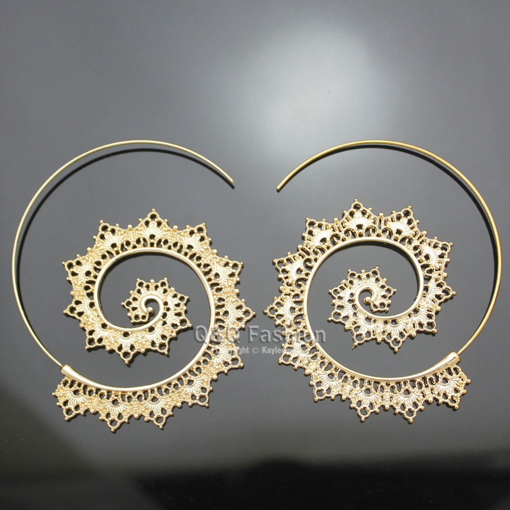 Retro Gold Indian Filigree Swirl Spiral Hoop Aros Threader Pull Thru Through Oorbellen Earrings For Women Brincos Aretes Fishing In From