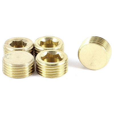 5 Pieces Air Pneumatic Pipe 1/2PT Male Thread Hex Socket Brass Plugs Caps 6 pcs air pipe fittings 1 4pt male thread hex socket brass plugs caps