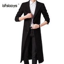 Frühling Herbst Winter Herrenmode Casual Einreiher Langen Trenchcoat Jacke Pea Coat Mantel Britischen Stil