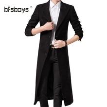 Для осени, весны, зимы, длинный тренч, пальто для мужчин, один отворот, бушлаты, пальто, верхняя одежда, модная, повседневная, британский стиль, мальто, тренчи, куртки