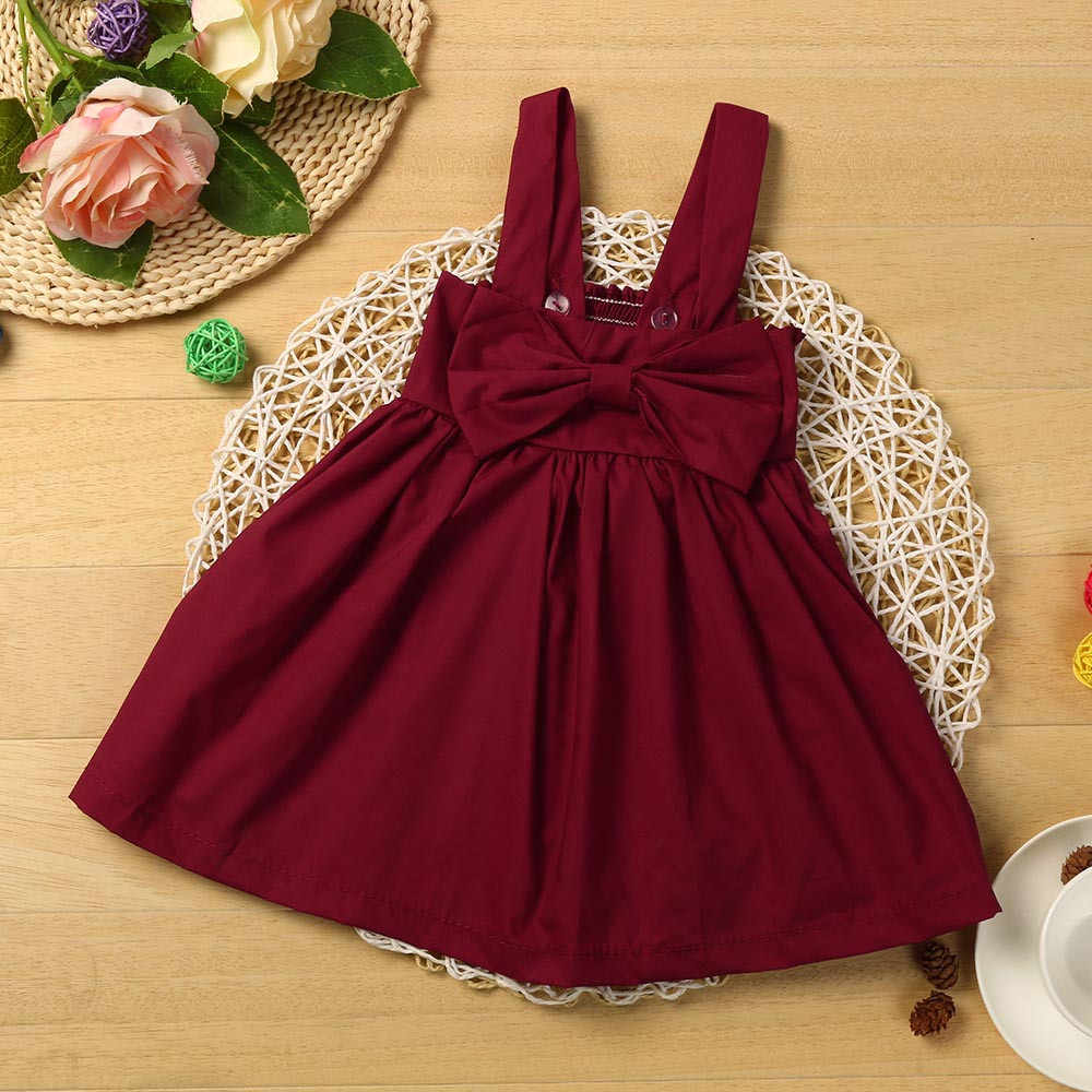 Toddler Kids Dress Sets Infant Baby Girls Cotton Casual Outfits Solid Sleeveless Backless Srtap Bow Dress Harness Princess Dress