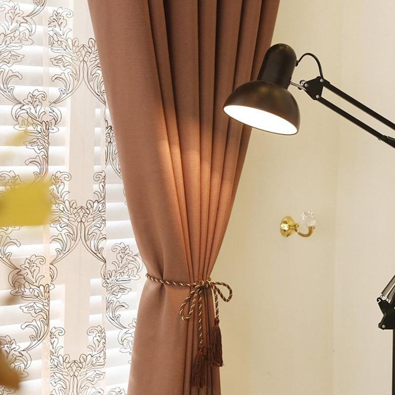 Interior Decoration Home Solid color Faux Linen Blackout Curtains ...