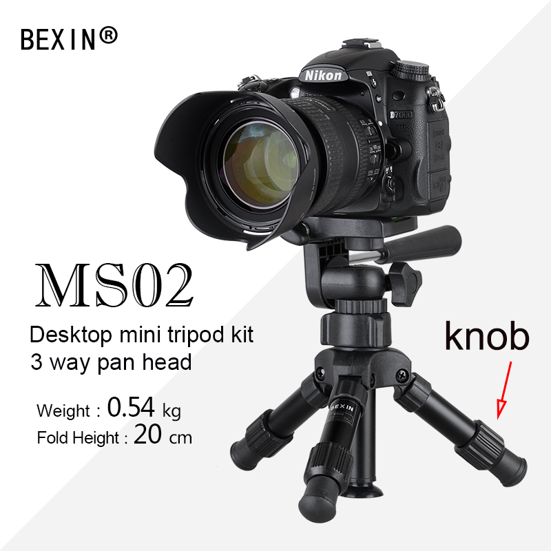 BEXIN Foldable Portable Ultra Aluminium Plastic Lightweight Compact Desktop Macro Mini Tripod with Tilt pan Head For Camera Phone