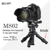 BEXIN Portable Folding Ultra Aluminum Plastic Lightweight Compact Desktop Macro Mini Tripod with Tilt pan Head For Phone Camera