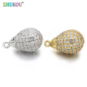 ZHUKOU Brass Cubic Zirconia Charms Pendants Shape Diy