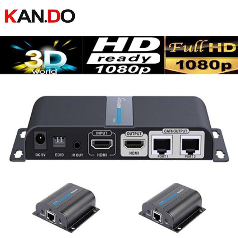 712pro porte UTP HDMI 1X2 splitter extender da cat5e/6 cavi fino a 50 M con IR e POE (1 sender + 2 ricevitori inclusi) HDMI extender