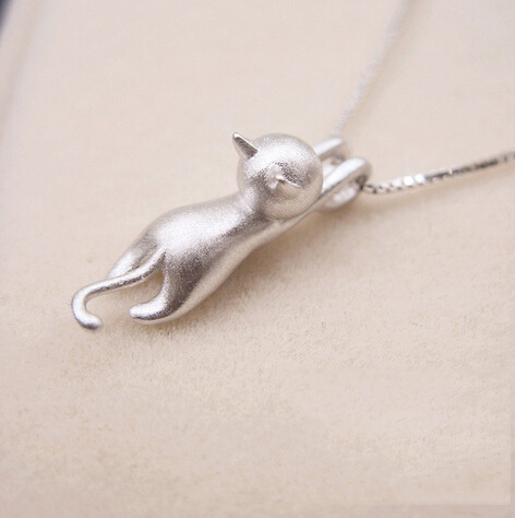 Small fresh 925 sterling silver cat necklace silver cartoon chain small fresh 925 sterling silver cat necklace silver cartoon chain kitty necklaces pendants for women girl jewelry collares in chain necklaces from jewelry aloadofball Images